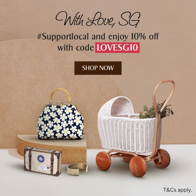 Use code LOVESG10 to enjoy 10% off regular-priced items on With Love, SG concept store