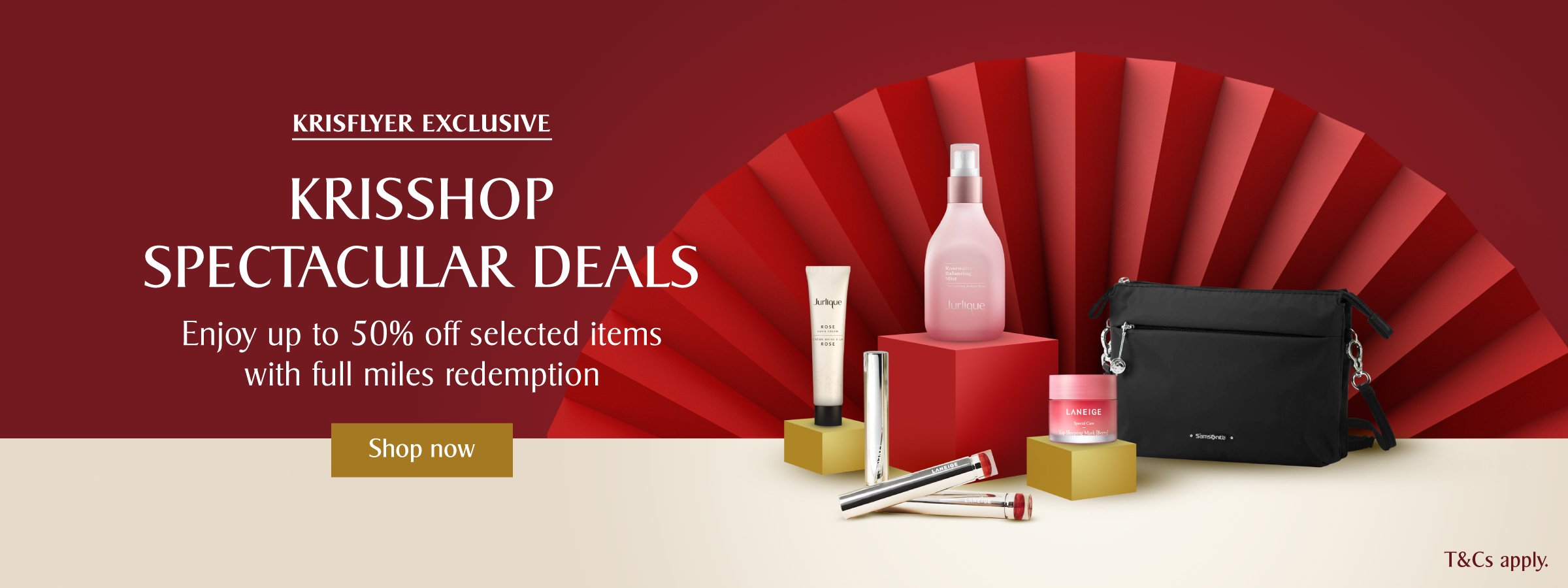 KrisShop Spectacular Deals, enjoy up to 50% off with full miles redemption