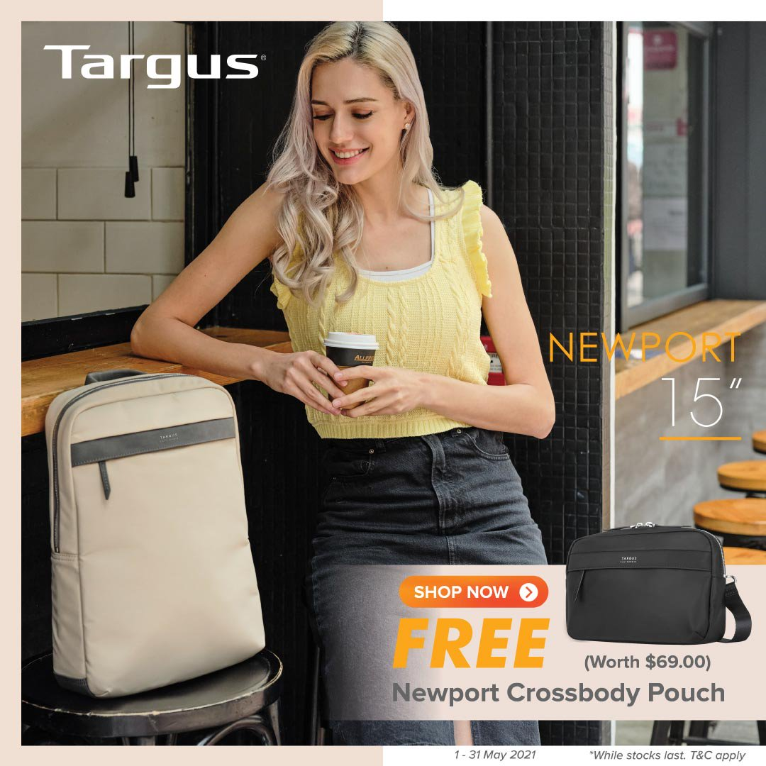 Free Newport Crossbody Pouch (worth S$69) with purchase of Targus Newport 15""